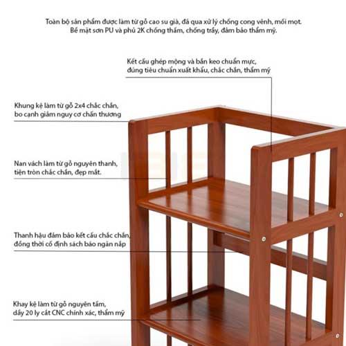 Chi tiết kệ sách gỗ đẹp giá rẻ 3 tầng