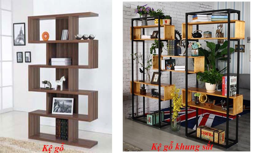 kệ gỗ khung sắt và kệ gỗ được yêu thích hiện nay