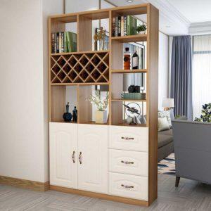 Tủ gỗ trang trí 2 cánh mở và 3 ngăn kéo có kệ để rượu TGC16