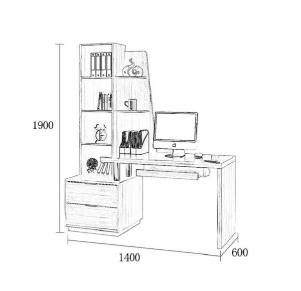 Kích thước bàn và giá sách BGC29