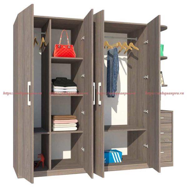 Tủ có 2 khoang treo quần áo và khoang đợt đứng để đồ tiện lợi .