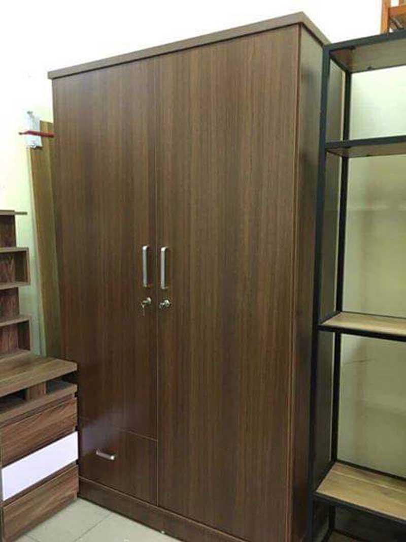 Tủ quần áo 2 cánh mở rộng 880mm giá rẻ màu vân lim