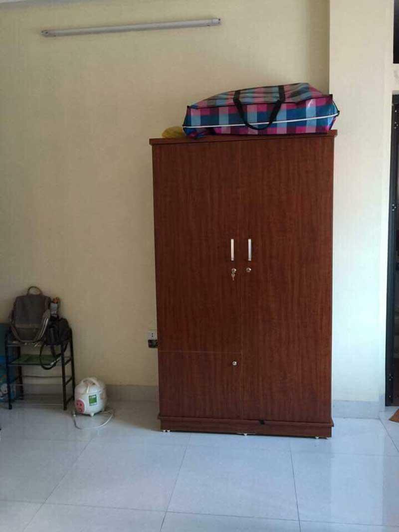 Tủ quần áo 2 cánh mở rộng 880mm giá rẻ màu xoan đào đỏ