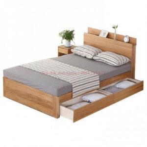 Giường ngủ gỗ công nghiệp có kệ đầu giường và 2 ngăn kéo G09