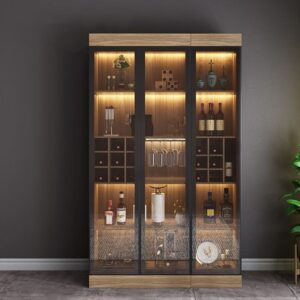 Kệ tủ rượu trang trí có đèn hiện đại và sang trọng