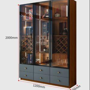 Kích thước kệ tru rượu KTR03 3 cánh kính